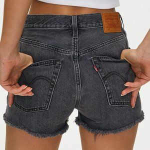 Levi's 501 high rise distressed denim shorts